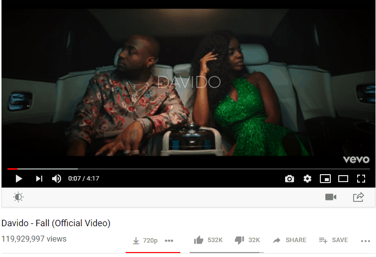 Davido song fall youtube