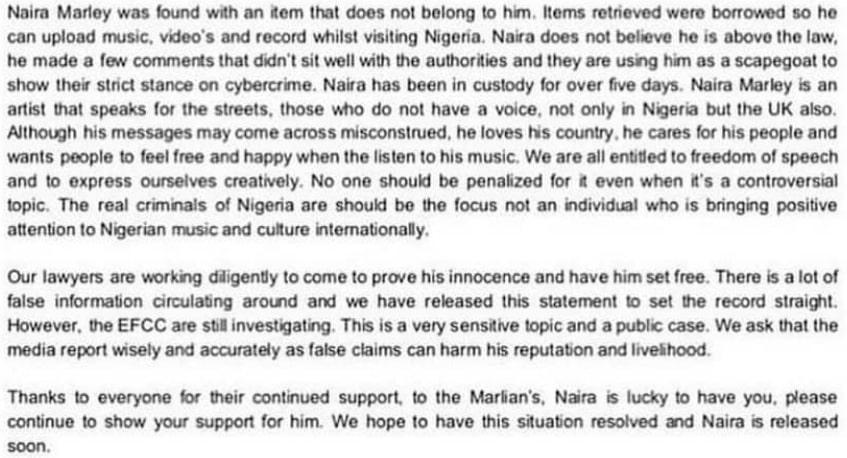 Naira Marley management press release statement