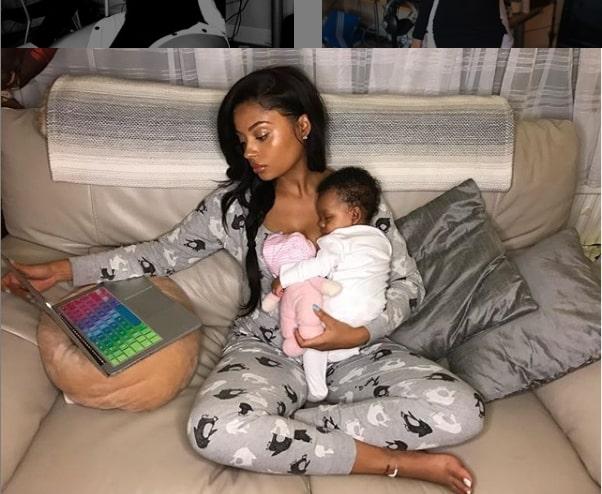 Tekno Girlfriend Lola Rae and daughter Skye