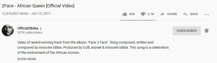 2face African Queen Youtube views