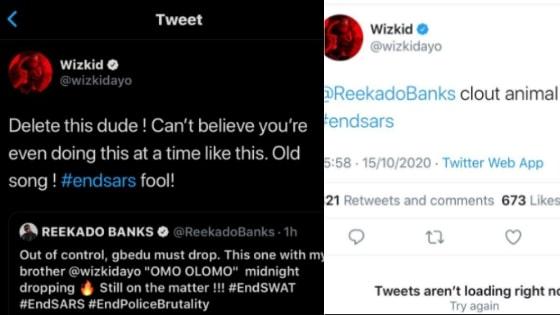 Wizkid tweet to Reekado Banks