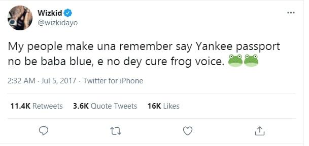 Wizkid Frog Voice Tweet